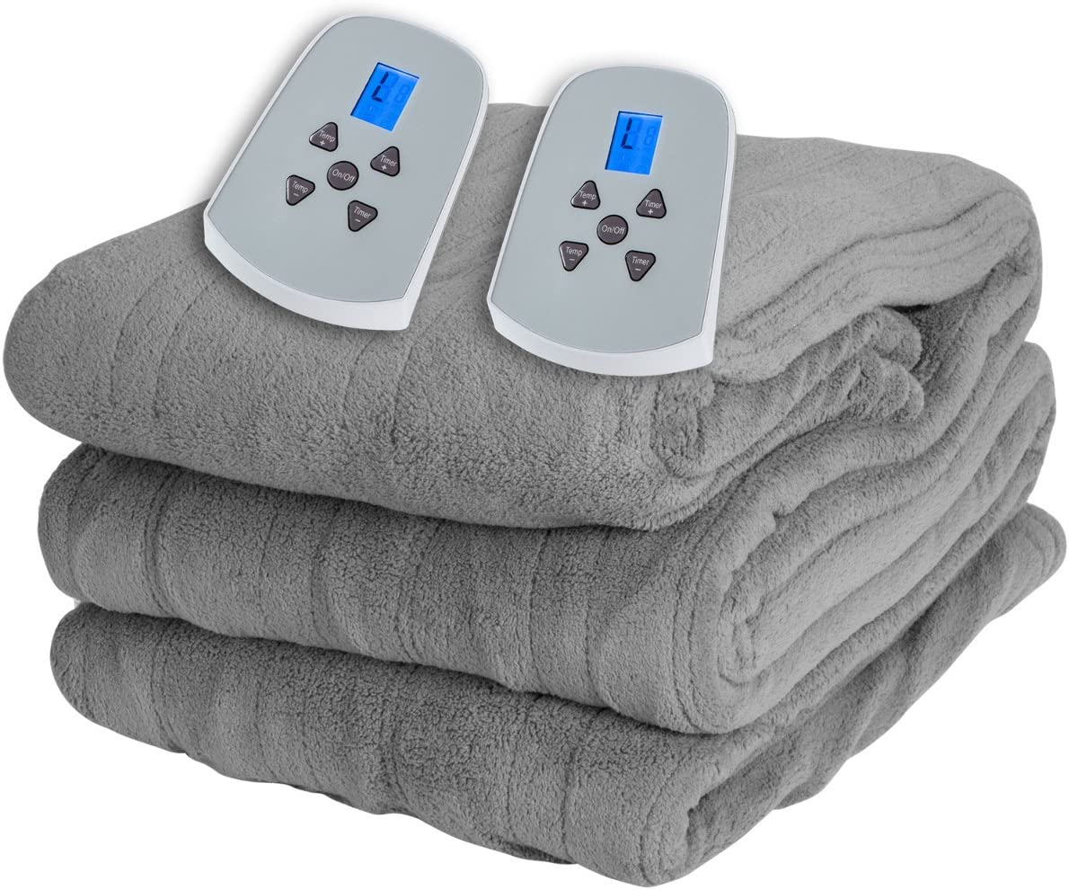 Westerly Queen Size Microlight Electric Heated Blanket with Dual Controllers, Gray