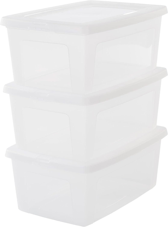 Iris Ohyama, lote de 3 cajas de almacenamiento con tapa Modular Clear Box MCB 11 Plástico, transparente, 11 L, 39,5 x 26,5 x 15,6 cm, 11L, 3