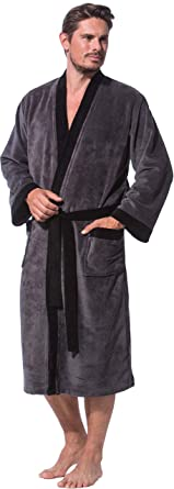 Morgenstern Kimono Bademantel f/ür Herren in Blau