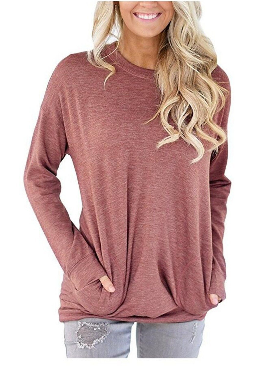 UniDear Women Casual Long Sleeve Round Neck Sweatshirt Loose Blouses Tops with Pocket Wine Red Small by UniDear (Image #1)