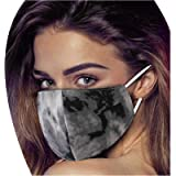 LOVESOO Adults Face_Mask Tie Dye Gradient Color Face Bandanas Scarf with Ear Loops Reusable Dustproof Outdoor Activities…