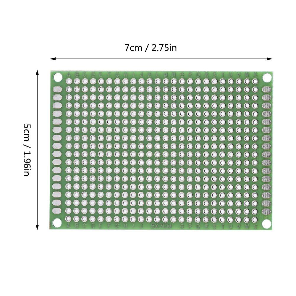 Akozon Leiterplatte Lochrasterplatine 10 St/ück 5 cm x 7 cm Doppelseiten Prototyping DIY L/öten Universal PCB Platine