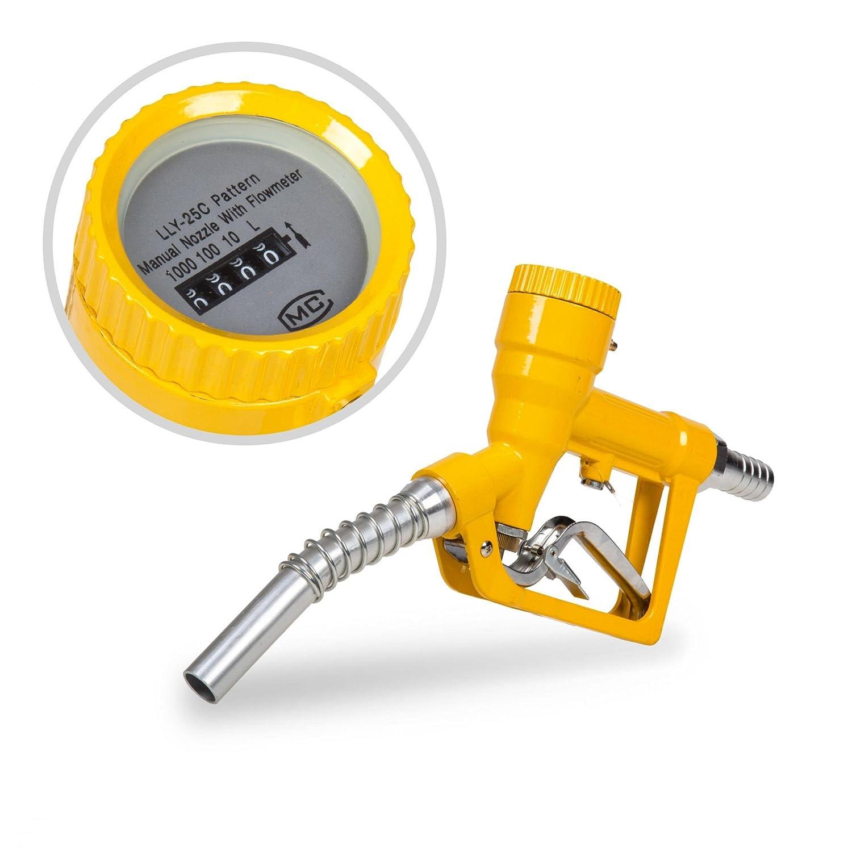"""Pistolet de distribution avec compteur analogique 60 l/min 1"""" - Pistolet pour pompe à gasoil en métal Berlan"""