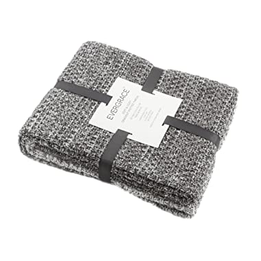 EverGrace Knitted Throw Blanket for Sofa or Couch, Soft & Cozy Gradient Grey Knit Throw Textured Ombré Effect for Home Décor 100% Acrylic W50 x L60 (Grey)