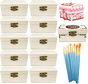 Cooyeah 12 Piece Unfinished Wood Treasure Chest Decorate Wooden Mini Treasure Boxes with Locking Clasp for DIY Projects, Home Decor, Party Favors, Props(3.8x2.1x1.8 inches