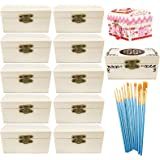 Cooyeah 12 Piece Unfinished Wood Treasure Chest Decorate Wooden Mini Treasure Boxes with Locking Clasp for DIY Projects, Home