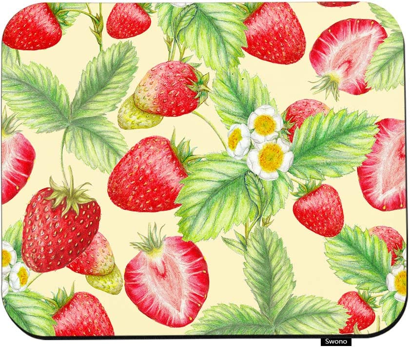 "Swono Strawberry Mouse Pads Botanical Plant Sweet Strawberries Leaves Flower Mouse Pad for Laptop Funny Non-Slip Gaming Mouse Pad for Office Home Travel Mouse Mat 7.9""X9.5"""