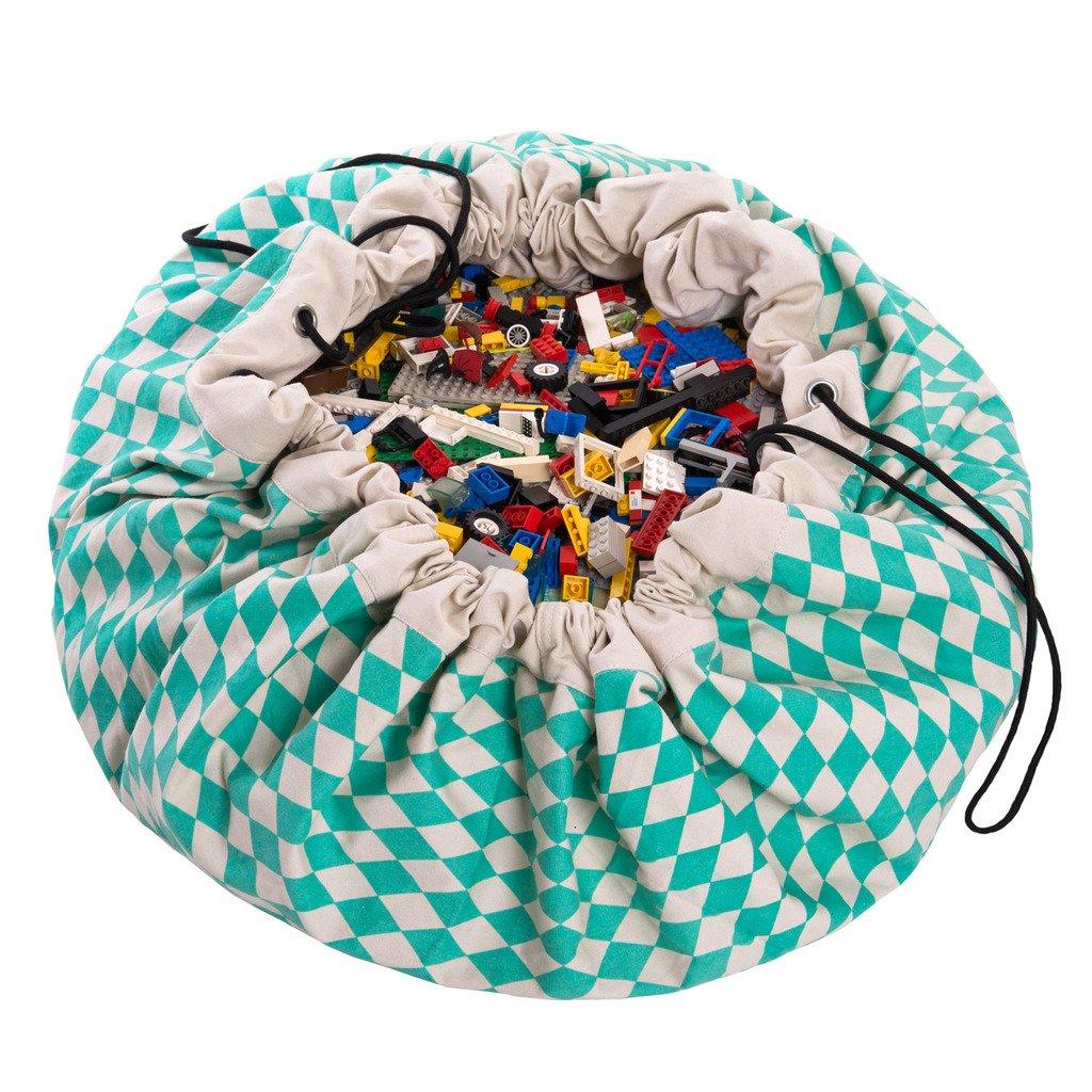 "B01JLVBDDG Play Mat and Toy Storage Bag - Durable Floor Activity Organizer Mat - Large Drawstring Portable Container for Kids Toys, Books - 55"", Diamond Green 71U-L10kPzL"
