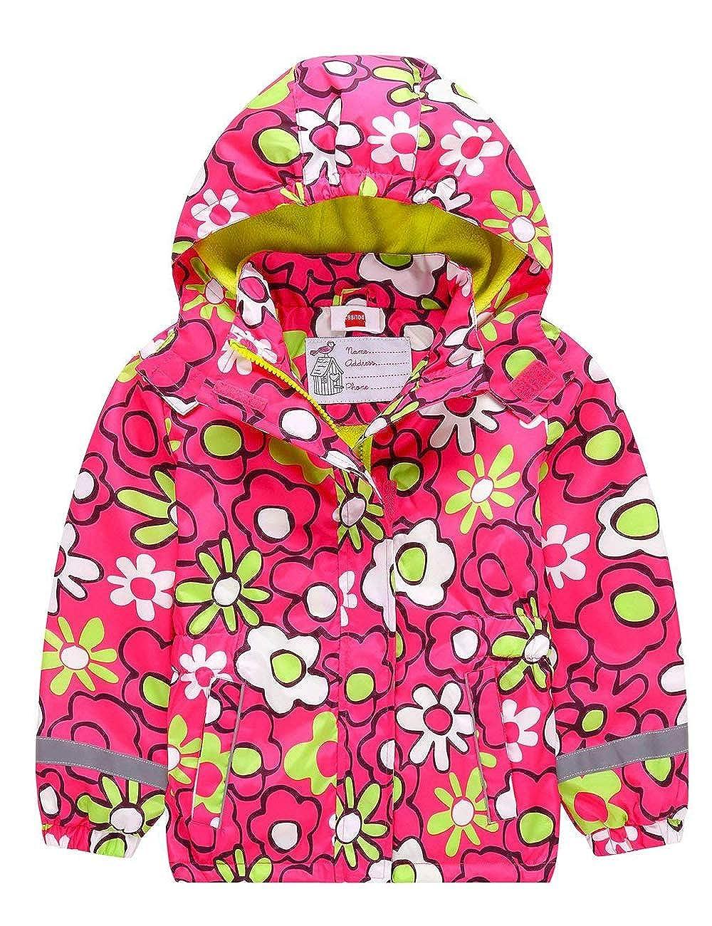 BUYKUD Kids Girls' Raincoat Fleece Lined Windproof Water Resistant Rain Jacket with Hood BUYKUD INC.