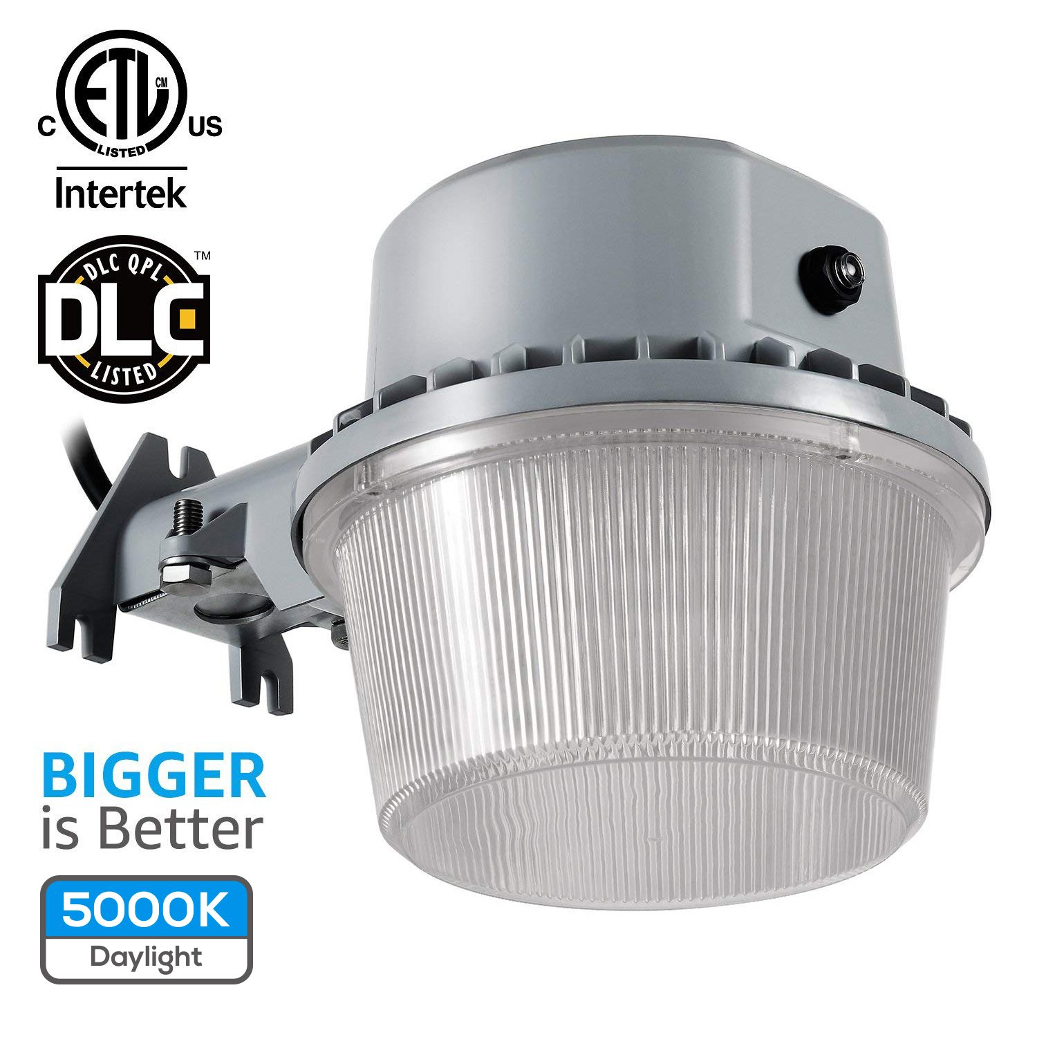 TORCHSTAR Dusk-to-Dawn LED Outdoor Barn Light (Photocell Included), 35W (250W Equiv.), 3500lm 5000K Floodlight, DLC & ETL-Listed Yard Light for Area Lighting, Wet Location, 5-Year Warranty, Silver