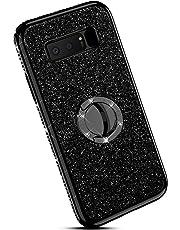 Ysimee kompatibel mit Samsung Galaxy Note 8 Hülle, Bling Schutzhülle Glänzend Weiche TPU Silikon HandyHülle Bumper Case mit Ring 360 Grad Ständer, Diamant Glitzer Case, Schwarz
