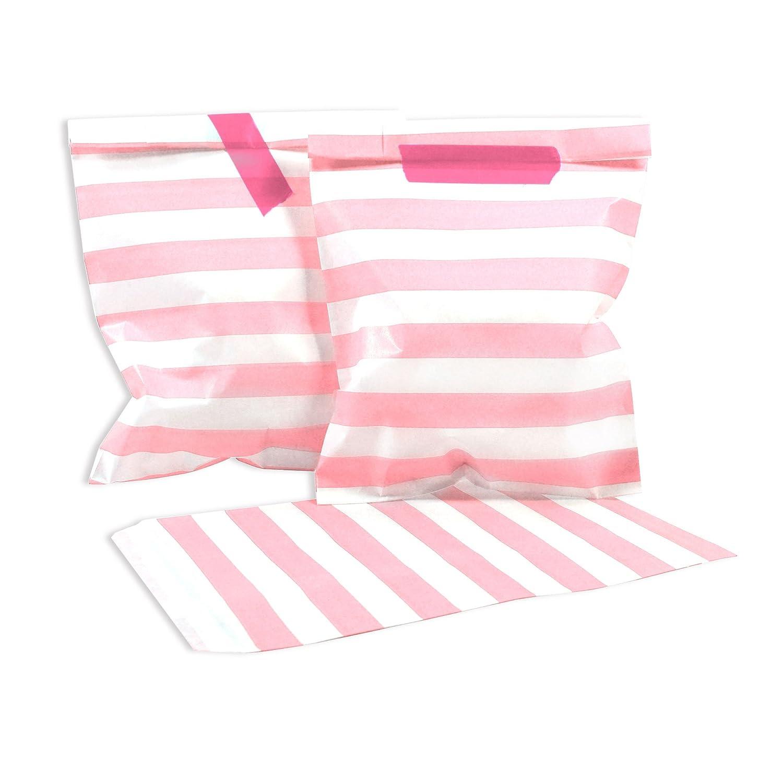 100 Frau Wundervoll Papiertüten - rosa horizontale Streifen - (Vorteilsmenge) / Geschenktüten / Candy Paper Bags