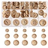 FEPITO Handmade with Love Wooden Button for Sewing Craft Decorations 15mm 20mm 25mm Round Shape