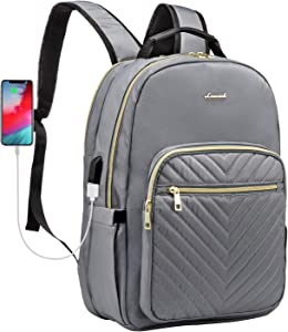 Quilted Laptop Backpack Stylish Laptop Bag for Women Work Computer Bags Bookbag,15.6-Inch, Grey