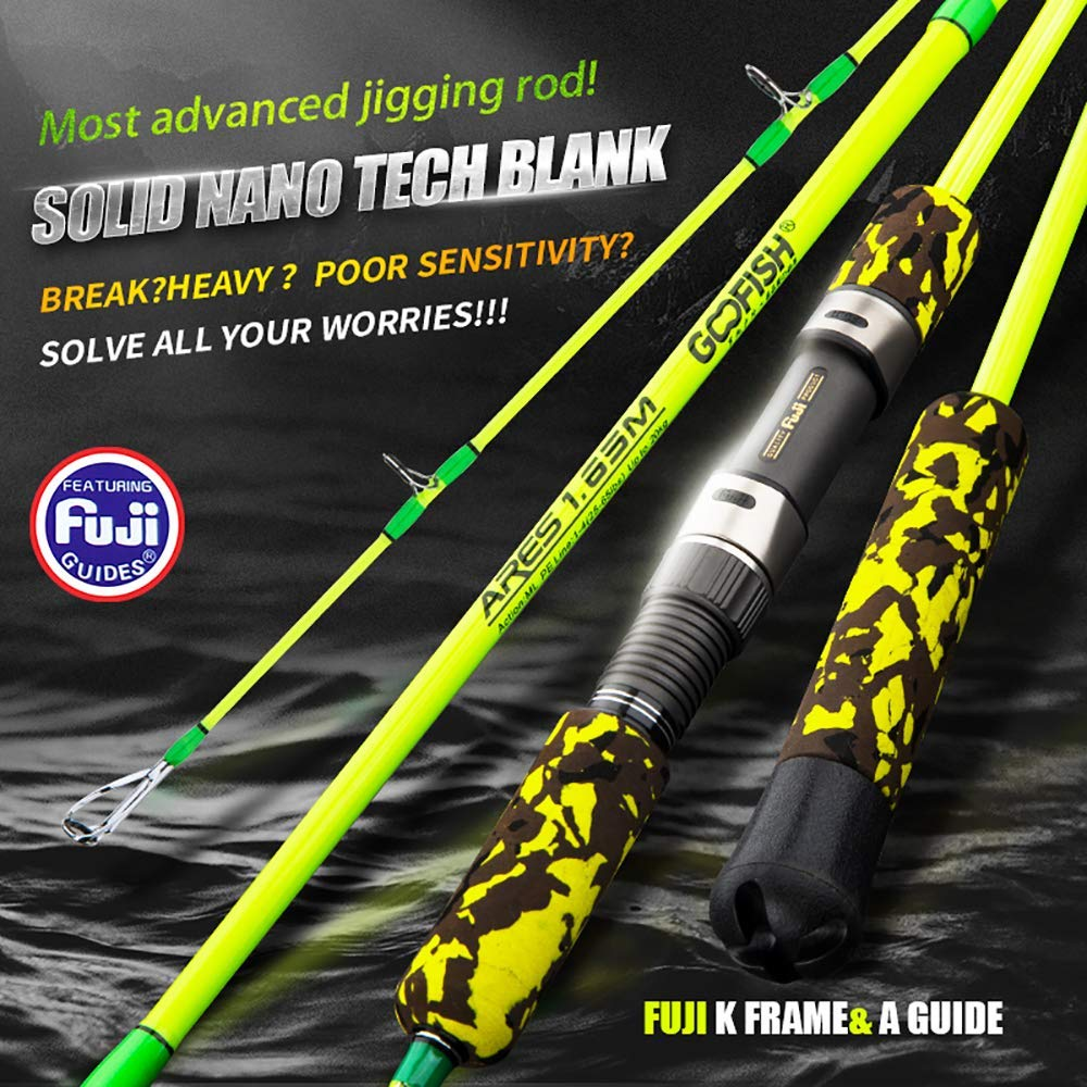 GOOFISH Solid Nano Tech Blank Vertical Hearty Rise Deep Sea Speed Jigging Rod 165cm Size PE 1-4 25-65lbs Saltwater Jig Fishing Pole with Fuji Setting Dead Lift Power 20kg