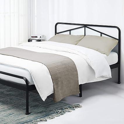online store 56239 491cf Best Price Mattress Queen Frame-Glen 14 Inch Heavy Duty Metal Platform Bed  w/Rounded Headboard Mattress Foundation (No Box Spring Needed), Black