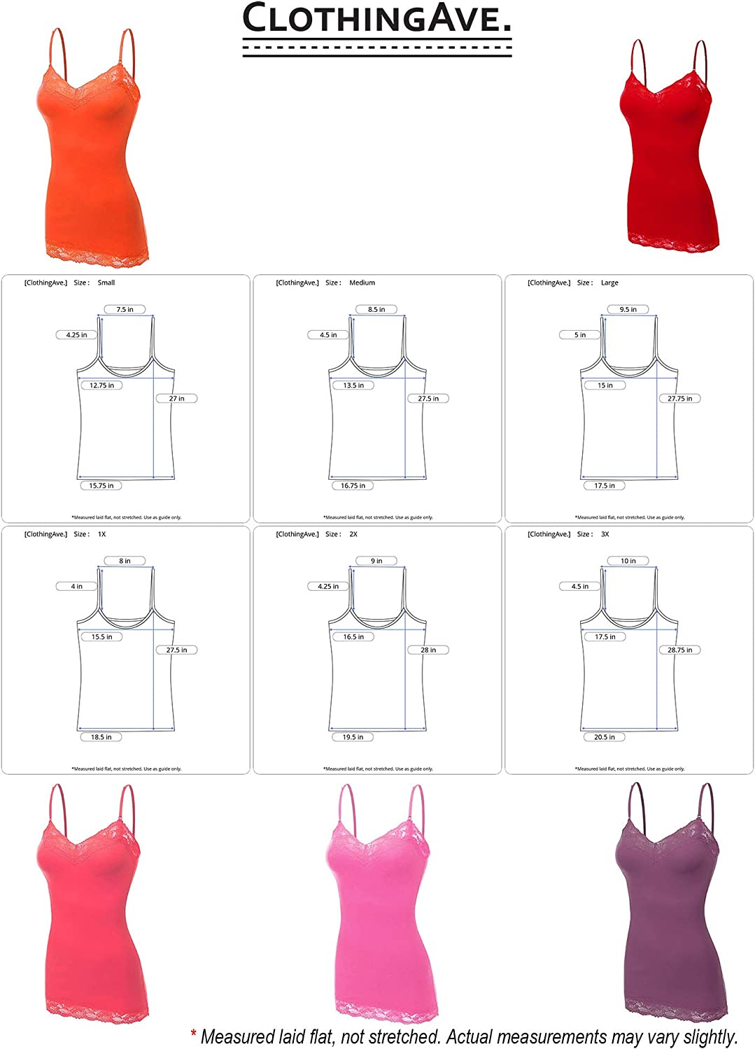 Womens Lace Trim V-Neck Cotton Blend Camisole Tank Top Collection S-3X ClothingAve