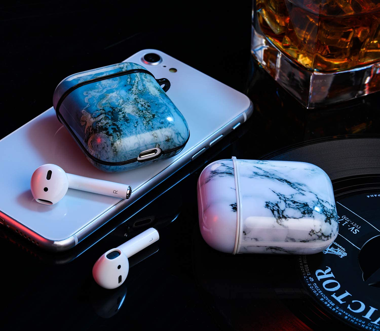 Support Wireless Charging Marble Blue//Black 2 Pack Patterned TPU Skin Protective Cover with Keychain Compatible with AirPods 2 /& 1 Upeak Compatible with AirPods Case