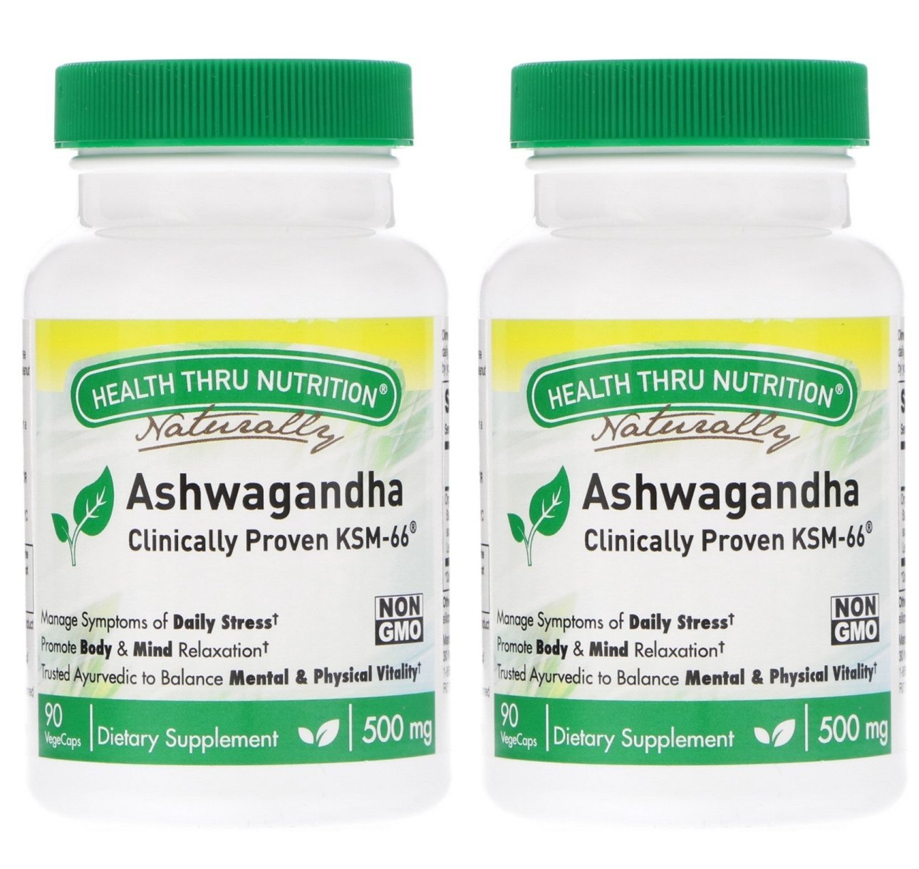 Health Thru Nutrition Organics Ashwagandha 500mg (Pack of 2) Reduce Stress and Anxiety, Enhance Memory and Cognition, Increase Endurance and Strength and Improve Sexual Function, 90 Tablets Each by Health Thru Nutrition Organics