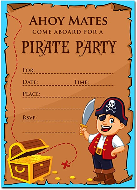 Amazon 30 pirate birthday invitations with envelopes 30 pack 30 pirate birthday invitations with envelopes 30 pack kids birthday party invitations for filmwisefo