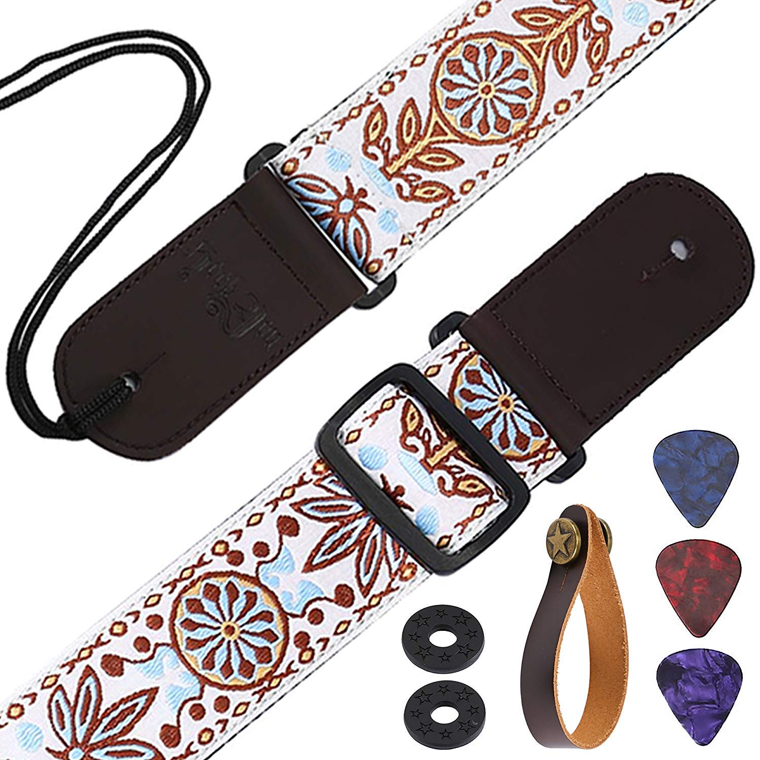 """Guitar Strap 5cm/2"""" Width Leather Ends and Leather Strap Hooks Sun Flower Jacquard Vintage Woven Guitar Shoulder Strap with 2 pcs Picks, 2 pcs Guitar Strap Lock for Bass and Guitars Asmuse ACGS-1"""
