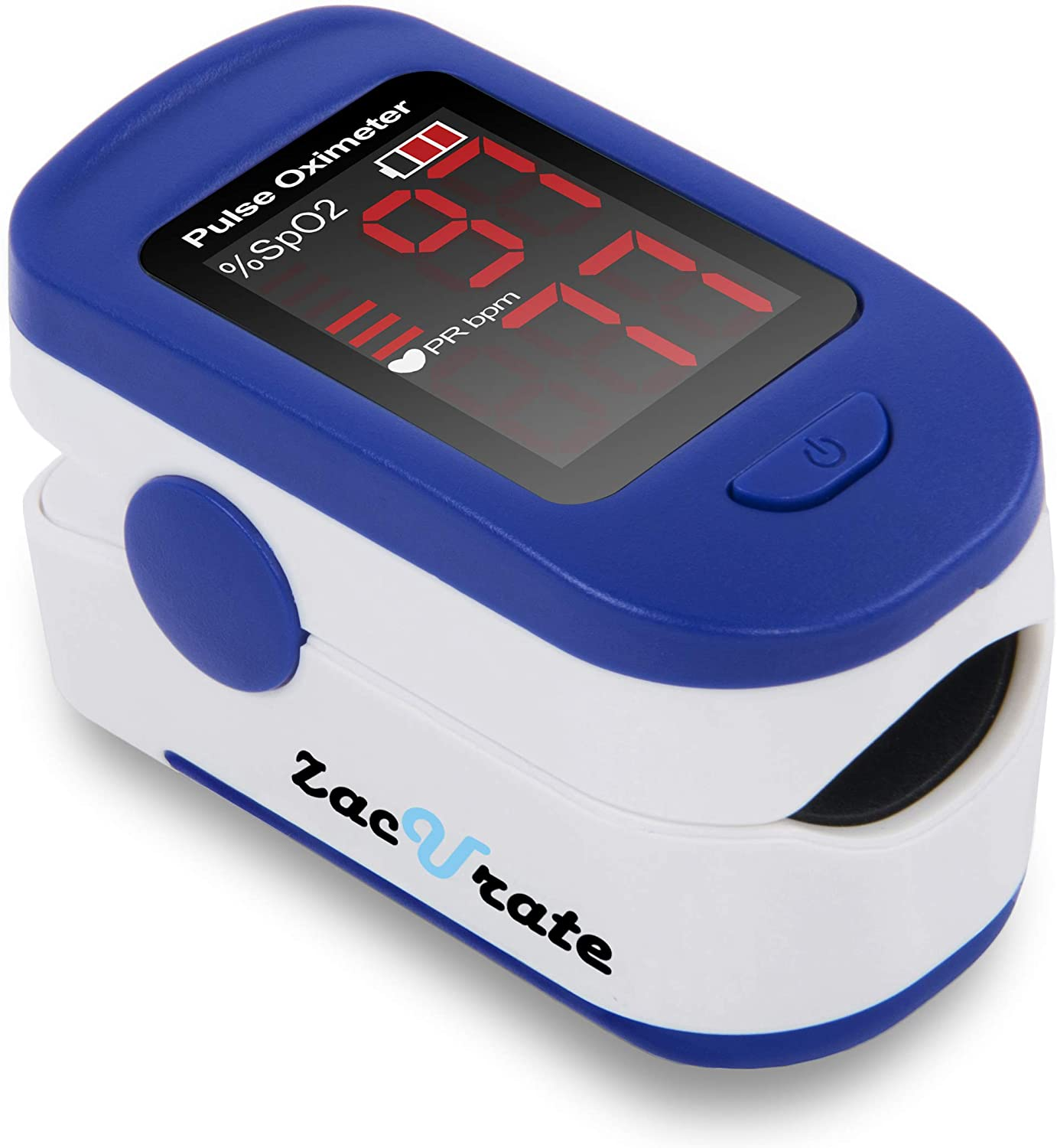 Zacurate 500BL Fingertip Pulse Oximeter Blood Oxygen Saturation Monitor with Batteries and Lanyard Included Navy Blue