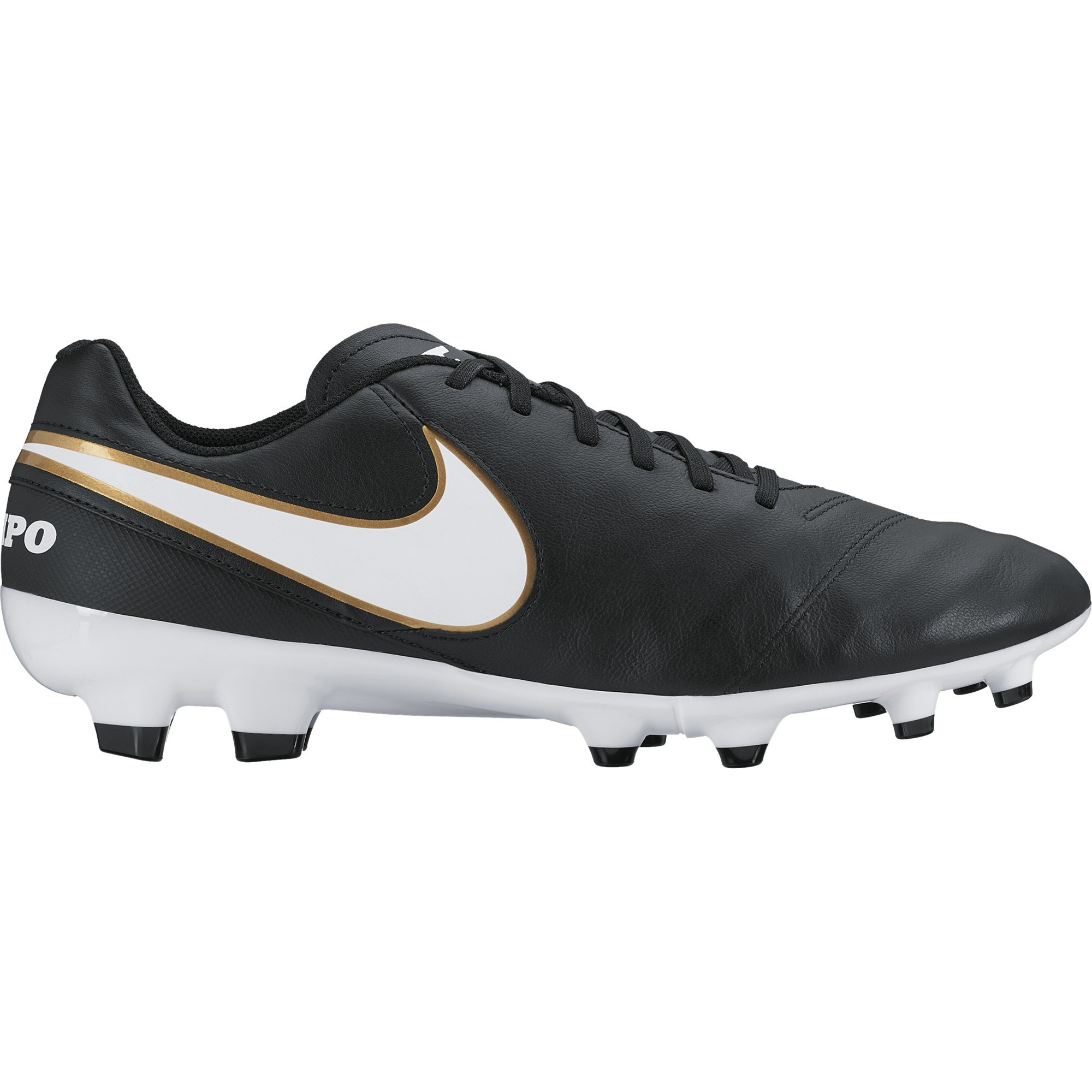 Nike Mens Tiempo Genio II Leather Fg Black/White/Metallic Gold Soccer Cleat 8.5 Men US