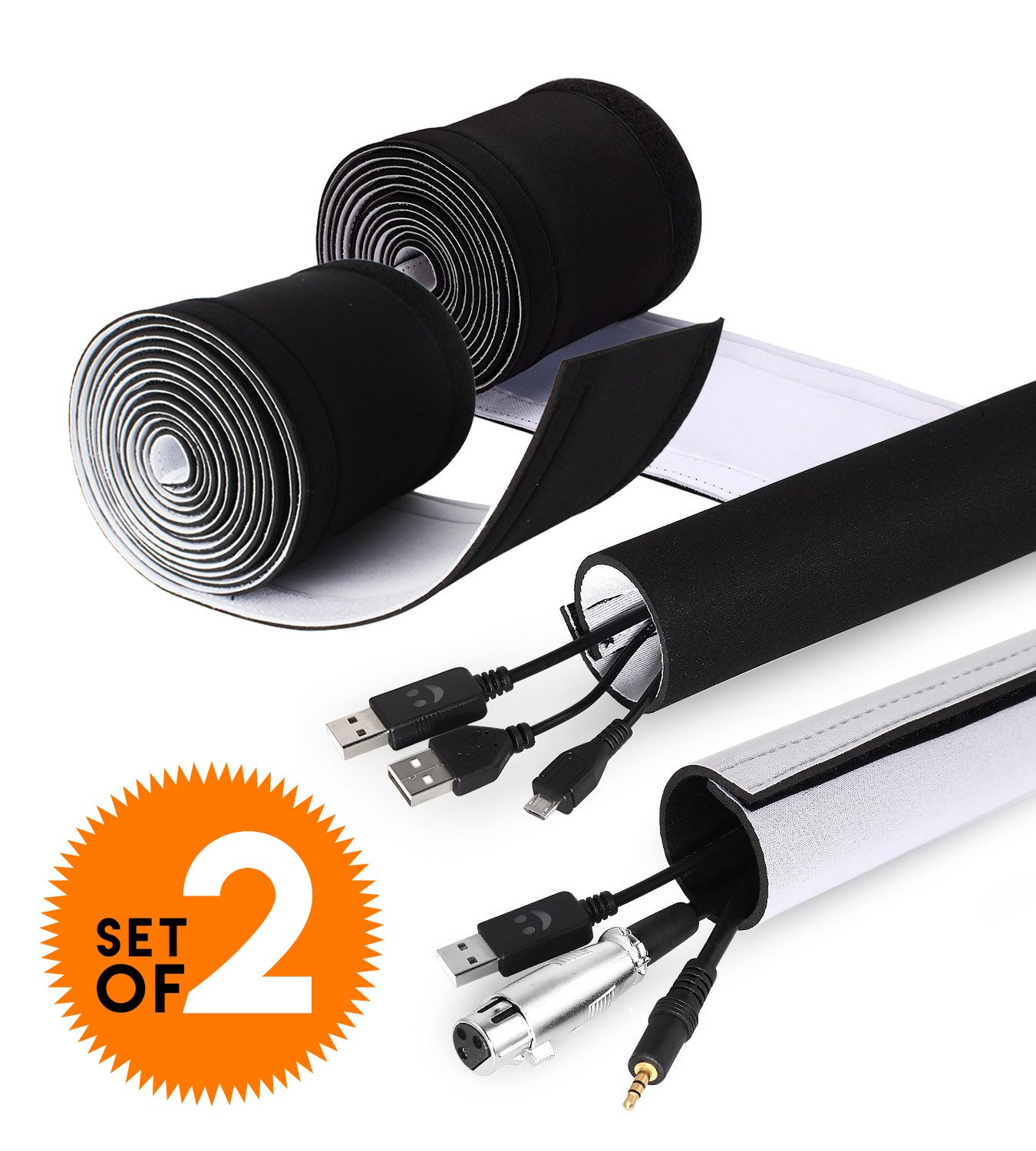 Adjustable Cable Organizer Sleeves (2 Pack x 35'') by Astorn. Reversible Black & White Neoprene Cord Organizer Sleeve Wraps. Cord Protector from Pets, Hiding Wires by Astorn (Image #1)