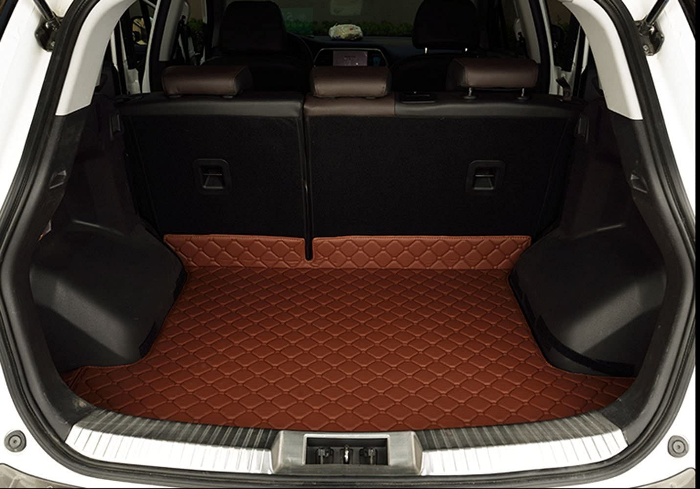 Custom Waterproof Car Trunk Mat Full Covered Cargo Liners for BMW X1 2016 Black with Red Lines