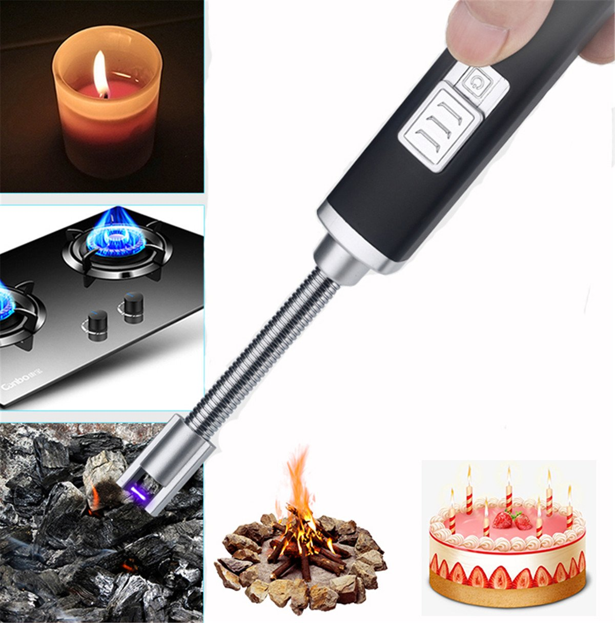 JIM'S STORE Electric Arc Accendino, USB ricaricabile senza fiamma candela Lighter no Fuel Lighter per cucina Barbecue campeggio casa cucina stufa barbecue camini, cavo USB incluso (Argento) Jim' s Stores