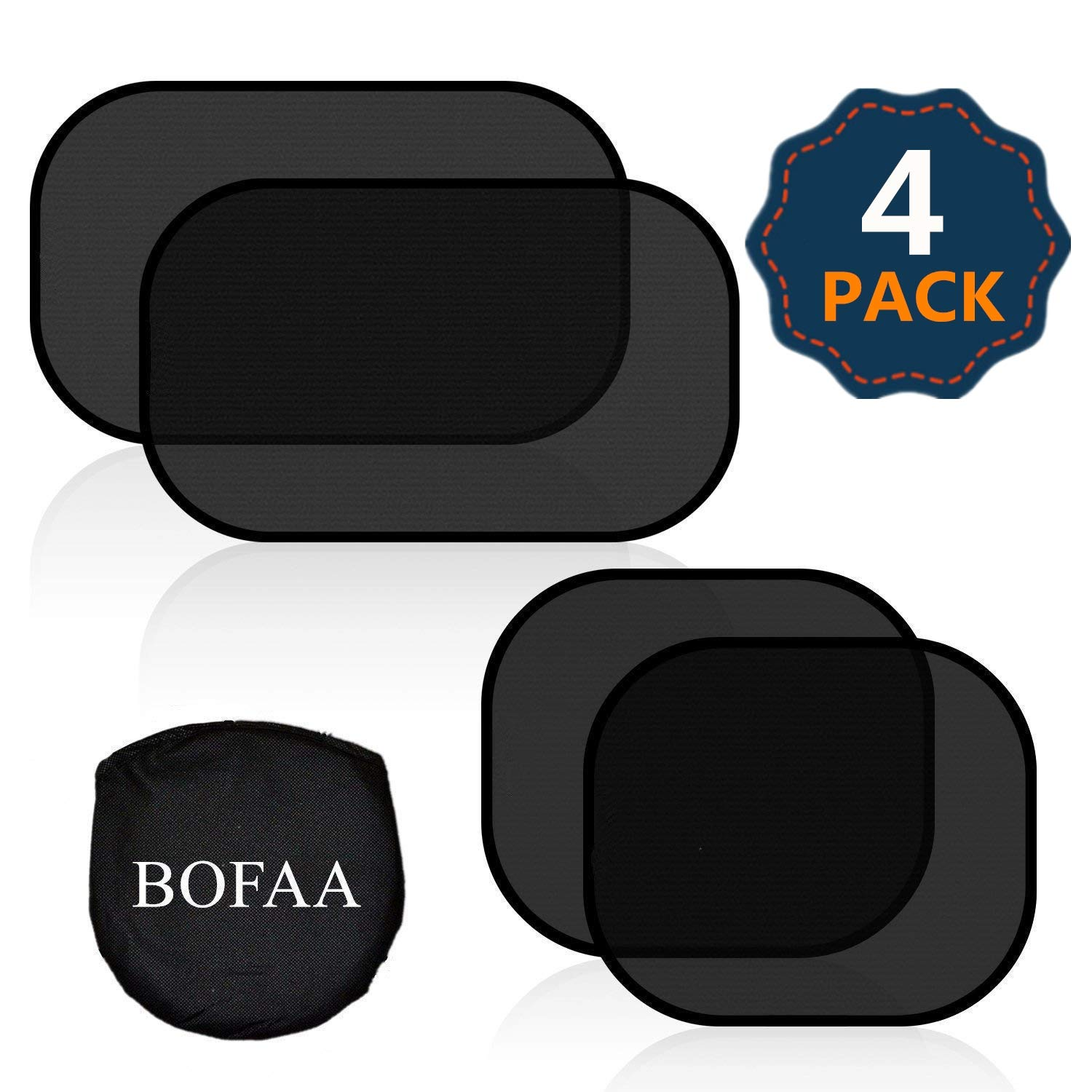 BOFAA Car Window Shade for Baby (4 Pack) 80GSM Cling Car Sun Shade for Side window - Sun, Glare And UV Rays Protection For Your kids - 2 Pack 51 * 31CM and 2 Pack 44 * 36CM Sunshade for Car Baby Ltd.