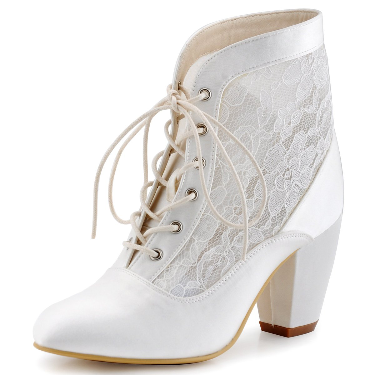 ElegantPark HC1559 Women Closed Toe Chunky Heel Lace up Sexy Lace Wedding Bridal Boots Ivory US 7