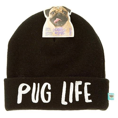 Amazon.com  Doug the Pug Claire s Girl s Pug Life Beanie- Black ... 8c5ab906918