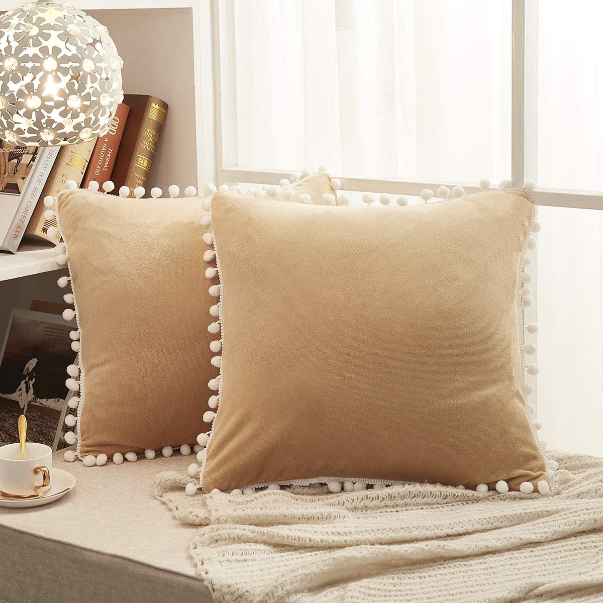 JAUXIO Soft Crystal Velvet Throw Pillow Covers 2 Pack with Pom Poms Decorative Fringes Solid Cushion Cover for Home Decor (Camel, 18