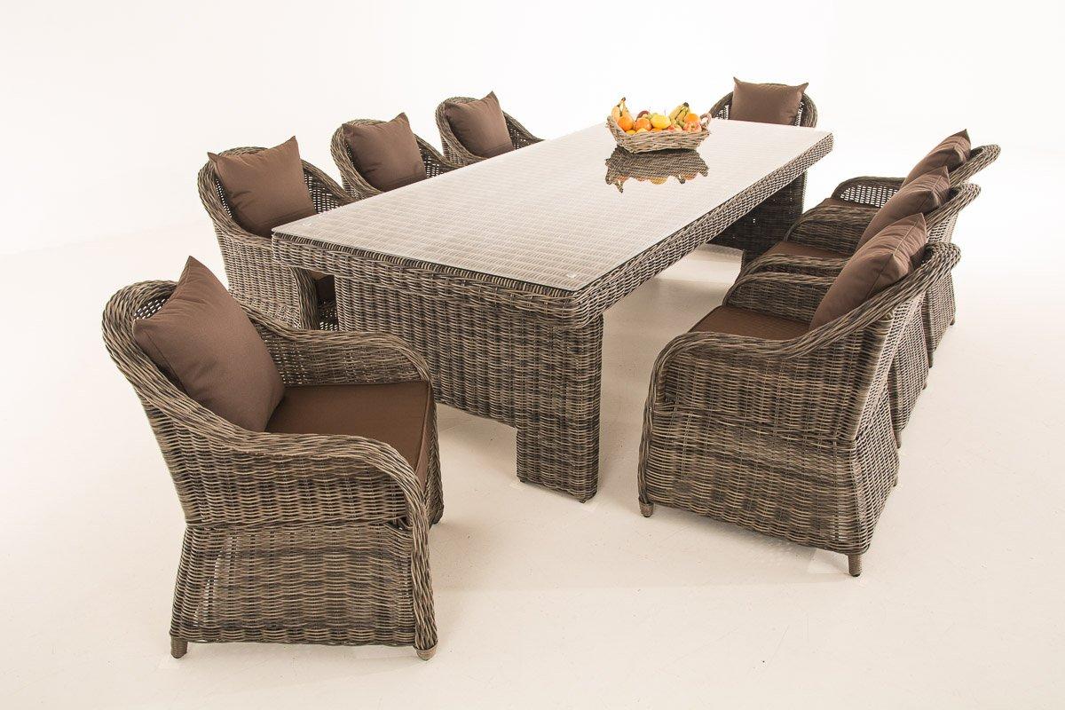 Mendler Garten-Garnitur CP065 XL, Sitzgruppe Lounge-Garnitur, Poly-Rattan ~ Kissen terrabraun, grau-meliert