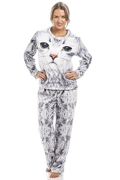 Camille - Pijama para Mujer - Estampado de Gato - Gris Claro: Amazon.es: Ropa y accesorios