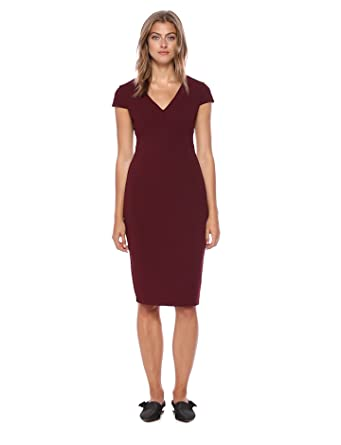 ea9ad074 Donna Morgan Women's Cap Sleeve Stretch Crepe Sheath Dress, Currant, ...