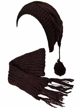 Black Chunky Knit Pom Pom Ponytail Winter Hat   Scarf Set at Amazon ... 8456144cfae