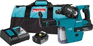 "Makita XRH011TX 18V LXT Lithium-Ion Brushless Cordless 1"" Rotary Hammer Kit, Accepts Sds-Plus Bits, w/Hepa Vacuum Attachment (5.0Ah),"