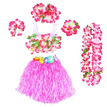 807847a69c3f BESTOYARD 6Pcs Tropical Hula Grass Skirt Hawaiian Fancy Dress Costume Set  Kids Flower Leis Bracelets Headband