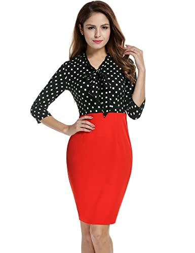ANGVNS Women 3/4 Sleeve V-Neck Dot Patchwork Package Hip Slim Party Pencil Dress