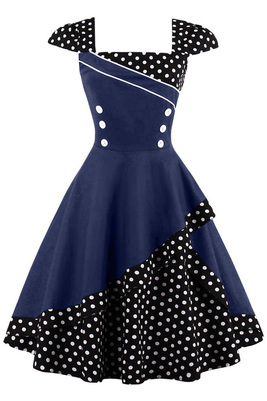 MisShow Damen 50er Hepburn Vintage Rockabilly Kleid Partykleider ...