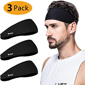 poshei Mens Headband, Mens Sweatband & Sports Headband for Running, Crossfit, Cycling, Yoga, Basketball - Stretchy Moisture Wicking Unisex Hairband