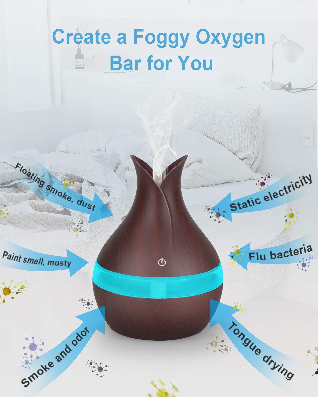 Brilex Madera Humidificador Aromaterapia Ultrasónico con Control Remoto, Brilex I Difusor de Aceites Esenciales 300ml,Difusor Aroma de Vapor Frío con ...