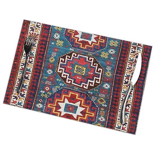 Compra Hectwya Juego de 6 manteles para Mesa Kazak Rug, Mesa de ...