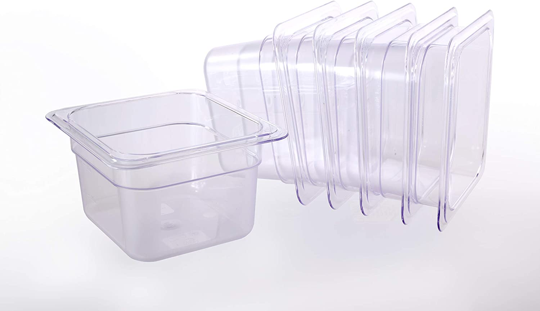 Hakka 1/6 Size Polycarbonate Food Pans,6