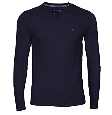 046ad220c6fc Tommy Hilfiger Herren T-Shirt Flag Tee V-NK L S RF  Amazon.de ...