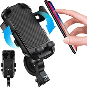 Easy One Touch Bike & Motorcycle Phone Mount, Silicone Bicycle Phone Holder Stand for Handlebars Compatible with iPhone 11 Pro Max XR XS X 8 7 6 5 Plus and Android Phones (Black-2) (BLK2)