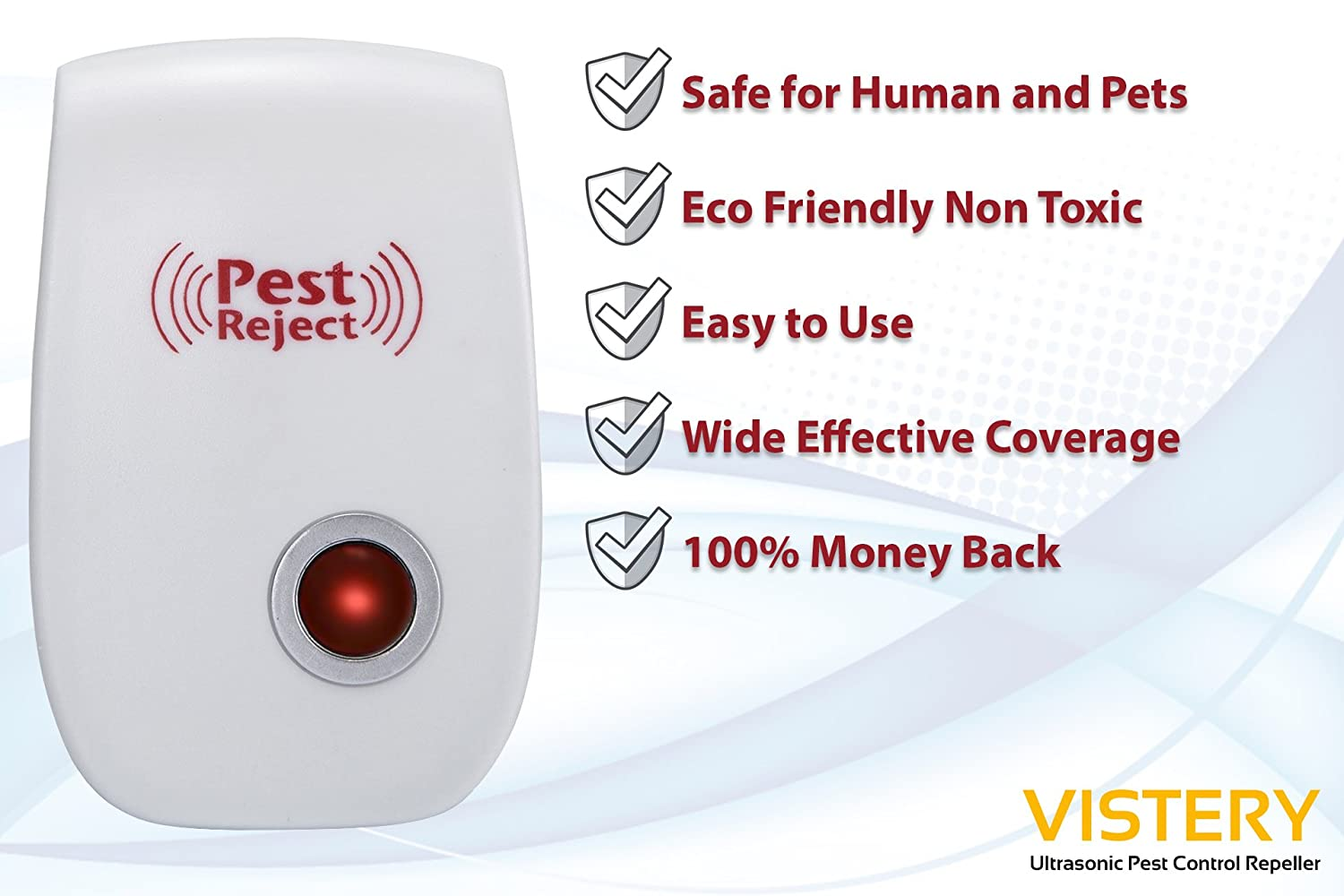 [2018 Upgraded] vistery Ultrasonic Pest Control Repeller - Repelente de plagas electrónico - Repele el ratón, chinches, insectos, cucarachas, mosquitos no ...