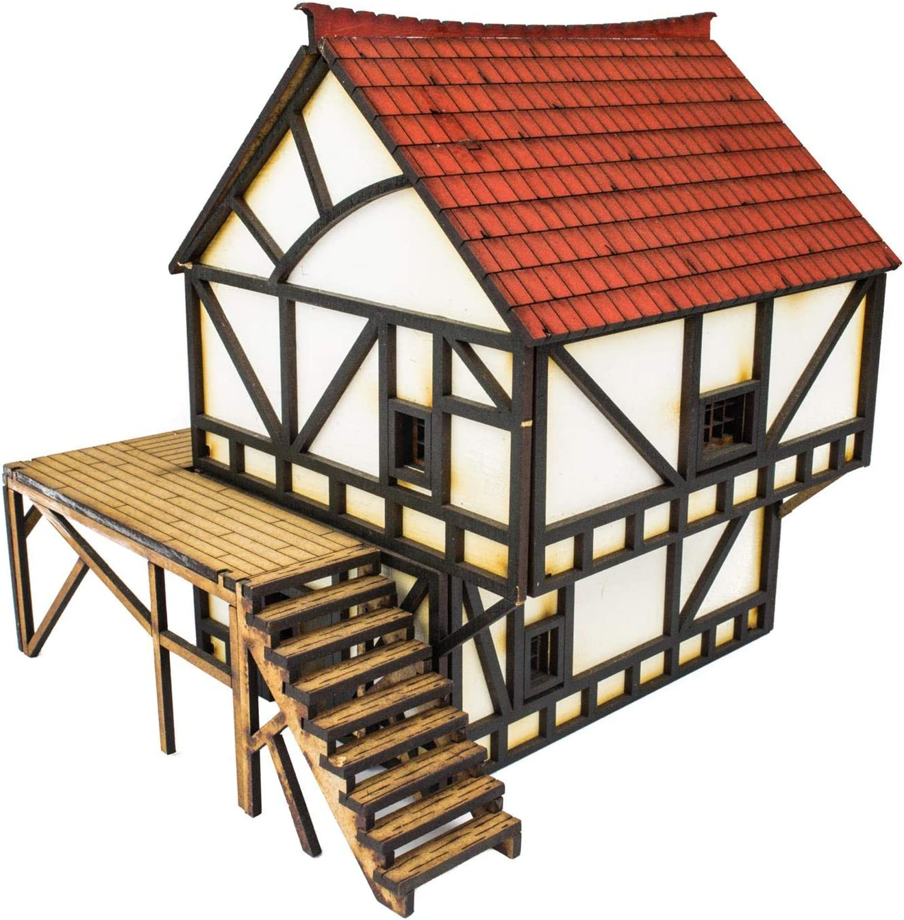 Amazon Com War World Gaming Medieval Town Mdf Fantasy Cottage Painted Unpainted 28mm Wargaming Terrain Model Diorama Toys Games